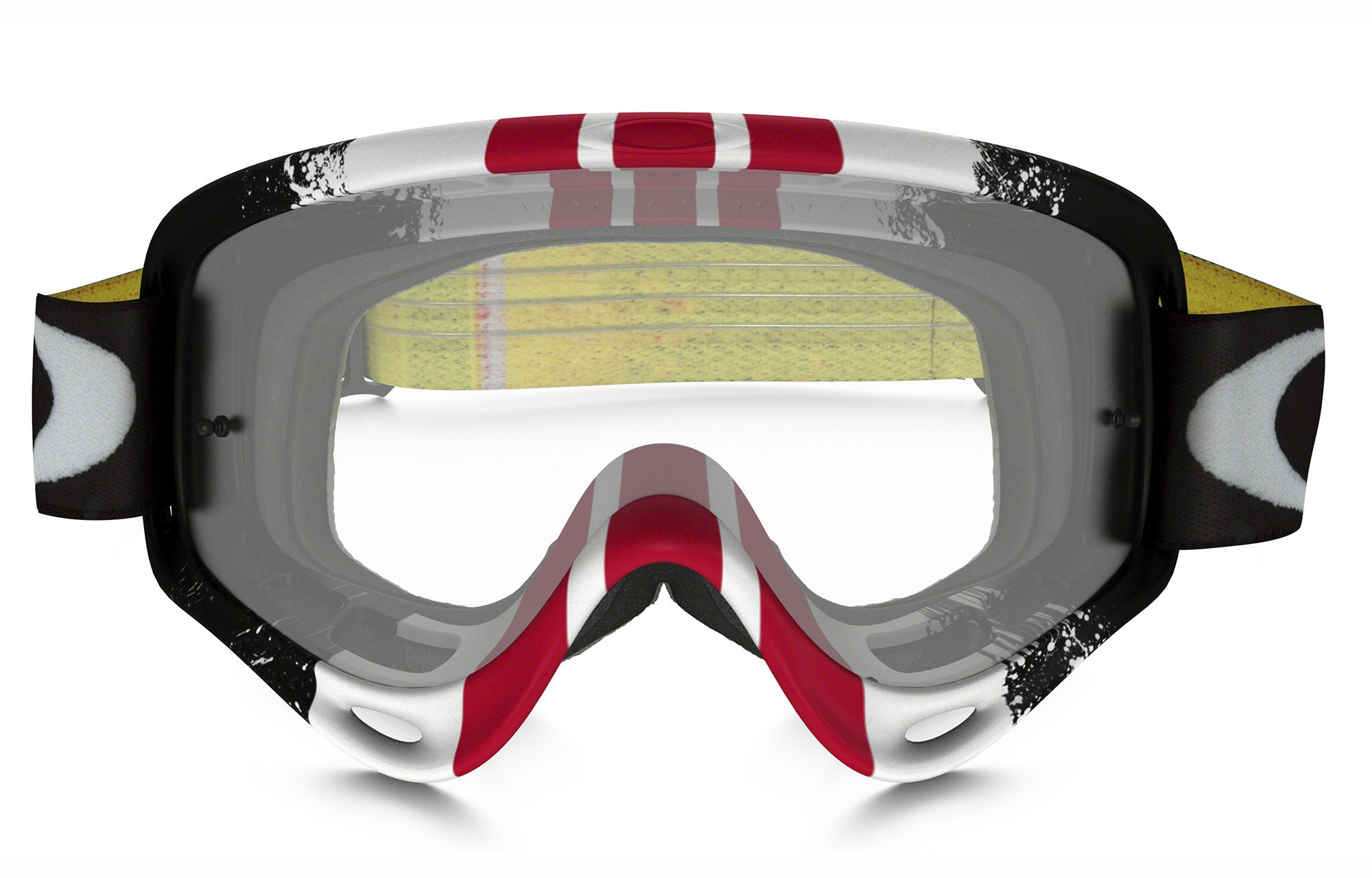 oakley o frame mx pinned race redwhiteblack goggles clear lens
