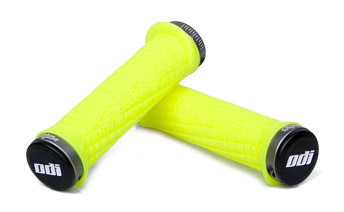 ODI TROY LEE DESIGN NEON YELLOW LOCK ON PACK GREY 130MM