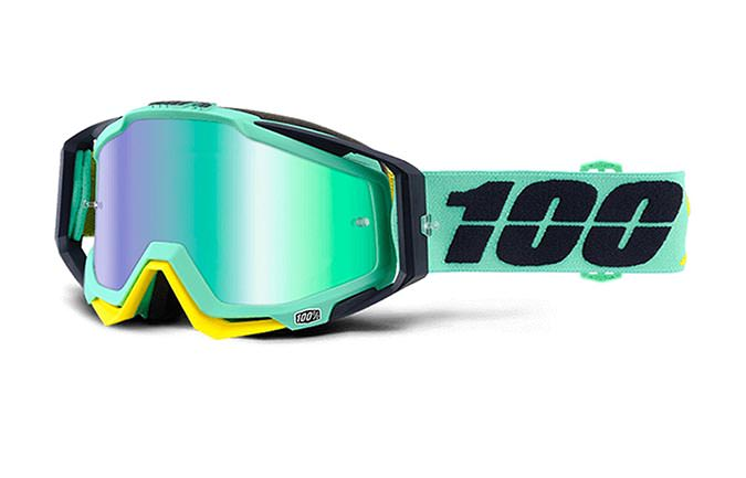 100% GOGGLE RACECRAFT KLOOG MIRROR GREEN LENS