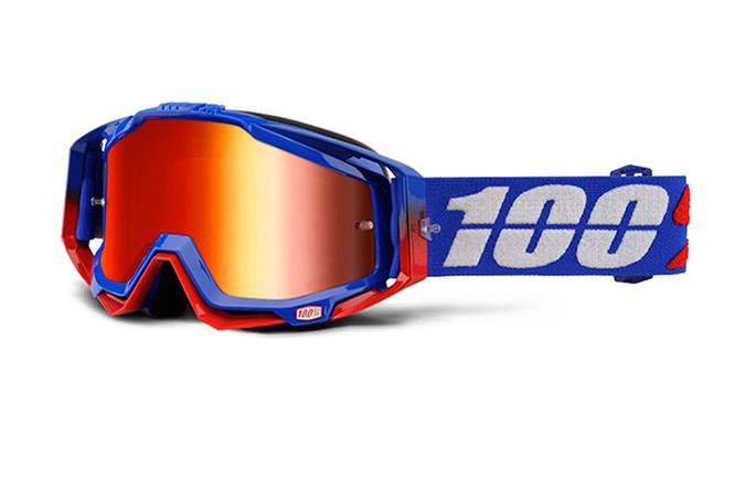 100% GOGGLE RACECRAFT REPUBLIC MIRROR RED LENS