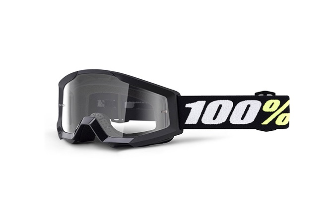 100% STRATA MINI BLACK GOGGLES - CLEAR LENS 2020