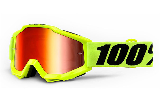 100% ACCURI GOGGLE FLURO YELLOW - RED MIRROR LENS