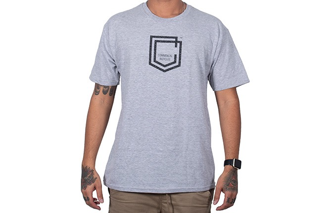 COMMENCAL SHIELD T-SHIRT LIGHT GREY 2019