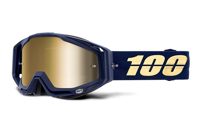 100% RACECRAFT BAKKEN GOGGLES -  TRUE GOLD MIRROR LENS 2020