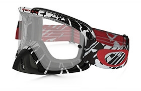 OAKLEY O FRAME 2.0 MX SKULL RUSHMORE RED GOGGLES CLEAR LENS