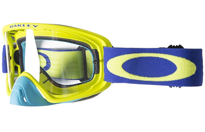 OAKLEY O FRAME 2.0 MX LIME BLUE GOGGLE  CLEAR LENS