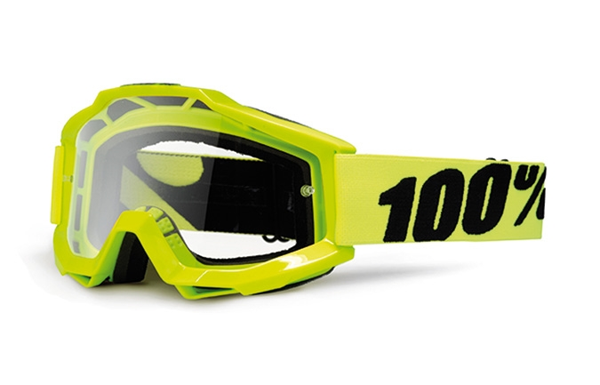 100% GOGGLE ACCURI FLUO YELLOW CLEAR LENS 2020