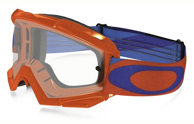 OAKLEY PROVEN MX HERITAGE RACER ORANGE/BLUE GOGGLES CLEAR LENS