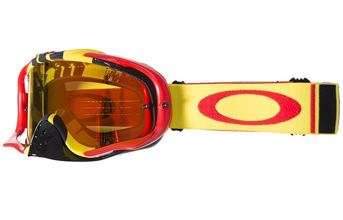 OAKLEY CROWBAR MX PINNED RACE YELLOW RED GOGGLE W/FIRE IRID + CLEAR
