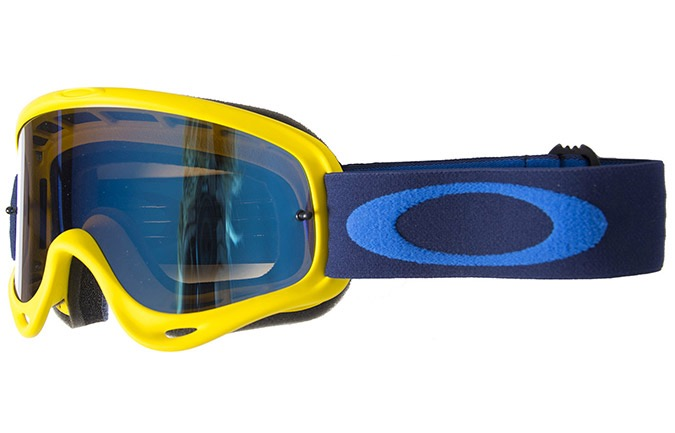 OAKLEY O FRAME MX YELLOW NAVY GOGGLE W/BLACK ICE IRIDIUM W/CLEAR LENS