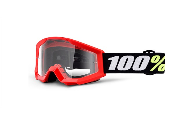 100% STRATA MINI RED GOGGLE - CLEAR LENS 2020