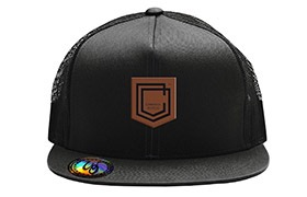 COMMENCAL SHIELD FLAT PEAK CAP BLACK LEATHER