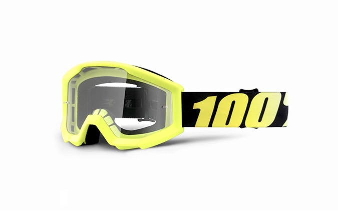 100% STRATA JUNIOR NEON YELLOW GOGGLES - CLEAR LENS